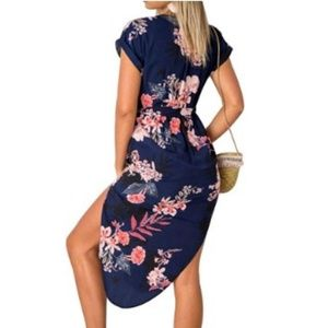 Dresses - Floral Geometric Pattern Short Sleeve Midi dress
